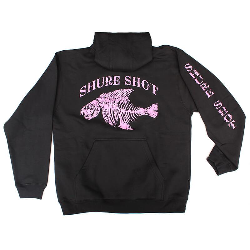 Black Hoodie, Pink Logo Shure Shot Hoodie - Front