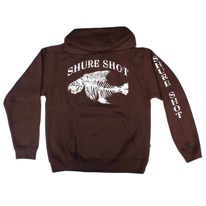 Brown Hoodie, White Logo Shure Shot Hoodie - Front