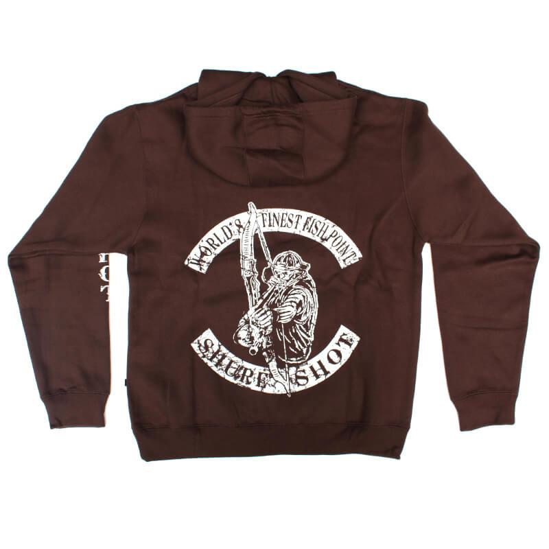 Brown Hoodie, White Logo Shure Shot Hoodie – Back